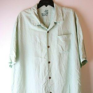 TOMMY BAHAMA Mens Olive Green Checkered Silk XL